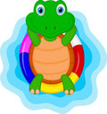 Green turtle cartoon relaxing illustration of Royalty Free Stock Image