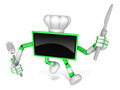 Green tv character chef in both hands to hold a fork and knife go on foot walking create d television robot series Stock Photography