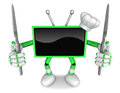 Green tv character chef in both hands to hold a knife create d television robot series Royalty Free Stock Images