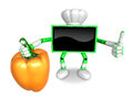 Green tv chef character right hand sweet pepper the best gestur gesture of is taking create d television robot series Royalty Free Stock Photo