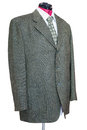 Green tweed jacket with shirt and tie isolated Royalty Free Stock Photo
