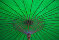 Green umbrella holder made of bamboo Stock Photos