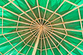 Green umbrella inside view of Royalty Free Stock Image
