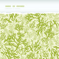 Green underwater seaweed horizontal torn seamless vector pattern background with hand drawn elements Stock Images