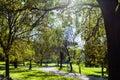Green urban park of Villa Borghese gardens in Rome