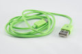 Green usb data link cable Royalty Free Stock Image