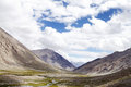 Green valley glacial streams and mountains of ladakh beautiful landscape region Royalty Free Stock Image