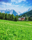 Green valley in the mountains beautiful seefeld austrian town alp hiking europe picturesque landscape travel and tourism Stock Photos