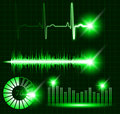 Green vector digital Equalizer, sound wave pulse, graph volume, loading set Royalty Free Stock Photo