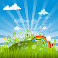 Green Vector Landscape With Rainbow Royalty Free Stock Photo