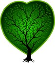 Green vector tree with heart