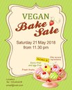 Green vegan bake sale promotion flyer with cupcakes