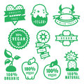 Green vegan, cruelty free, natural and organic products stickers and icons in vector Royalty Free Stock Photo