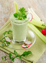 Green vegetable smoothie selective focus Stock Photo