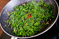 Green vegetables on the pan nettle Stock Image