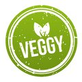 Green Veggy Badge - Vegan Button. Eps10 Vector. Royalty Free Stock Photo