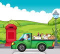 A green vehicle with dogs at the back illustration of Royalty Free Stock Photo