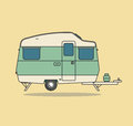 Green Vintage Camping Car. Caravan For Rest.