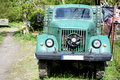 Green vintage old farm truck close up Royalty Free Stock Photo