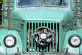 Green vintage old farm truck close up Stock Image