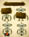 Green vintage robot different devices two displays to insert text Stock Photo