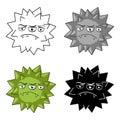 Green virus icon in cartoon style on white background.