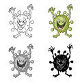 Green virus icon in cartoon style on white background. Viruses and bacteries symbol stock vector illustration.