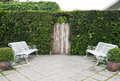 Green wall with white benches Royalty Free Stock Photo