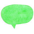 Green watercolor speech bubble isolated on white background Stock Photos