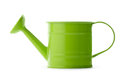 Green watering can gardening little on white background Stock Photo