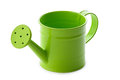 Green watering can gardening little on white background Stock Photography