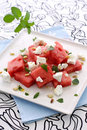 Green watermelon feta salad Royalty Free Stock Photos