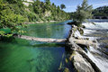 Green waters of rhein on rheinfall at neuhausen schaffhausen switzerland Stock Image