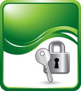 Green wave background with lock and key Royalty Free Stock Photo