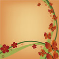 Green wave a pair of waves with red flowers and red butterflies Royalty Free Stock Photo