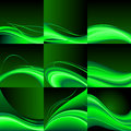 Green waves abstract set of background illustration on black Royalty Free Stock Images