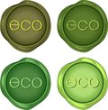 Green wax stamps set of for environmentally friendly products Royalty Free Stock Photography