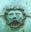 Green weathered copper face Royalty Free Stock Photo
