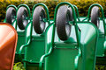 Green wheelbarrows Royalty Free Stock Photo