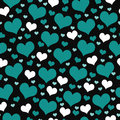 Green, White and Black Hearts Tile Pattern Repeat Background Royalty Free Stock Photo