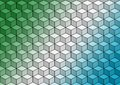 Green white blue geometric cubes  colorful abstract wallpaper background illustration. Royalty Free Stock Photo