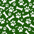 Green and White Dog Paw Prints and Bones Tile Pattern Repeat Bac Royalty Free Stock Photo
