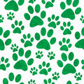 Green and White Dog Paw Prints Tile Pattern Repeat Background Royalty Free Stock Photo