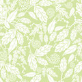 Green and white leaves seamless pattern background vector with abstract plants with fun branches forming a floral Stock Image