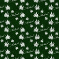 Green and White Medical Marijuana Tile Pattern Repeat Background Royalty Free Stock Photo