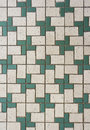 Green and white mosaic tiles Stock Photography