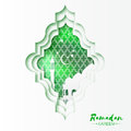 Green White Origami Mosque Window Ramadan Kareem Greeting card