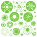 Green and white ornament collection Royalty Free Stock Photo