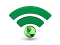 Green wifi symbol with planet earth isolated on white background elements of this image furnished by nasa Stock Images
