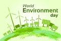 Green Wind Turbine Solar Energy Panel World Environment Day Royalty Free Stock Photo